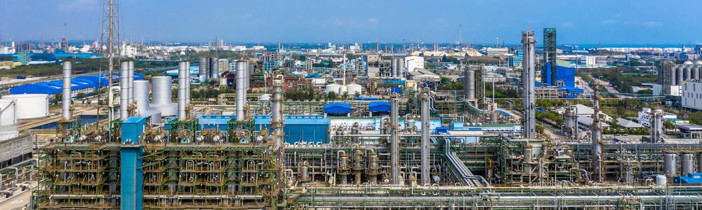 Polyethylene plant in the industrial park, Aerial view polyethyl